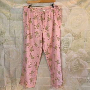 NWOT JK Intimates pink monkey flannel pj bottoms